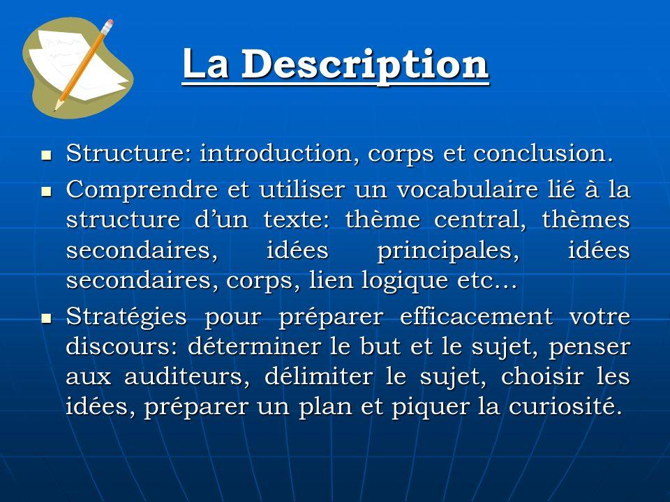 La Description Structure: introduction, corps et conclusion. Structure: introduction, corps et conclusion. Comprendre et utiliser un vocabulaire lié à