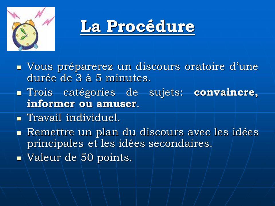 La Procédure Vous préparerez un discours oratoire dune durée de 3 à 5 minutes. Vous préparerez un discours oratoire dune durée de 3 à 5 minutes. Trois