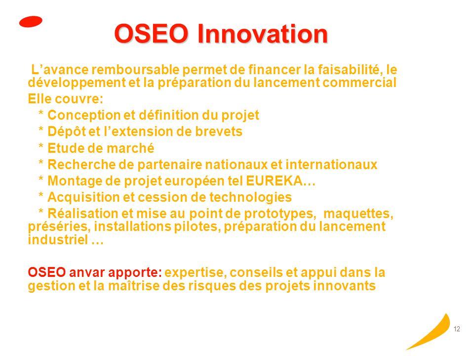 11 Aides à lInnovation dOSEO Accompagner un projet à linnovation par une avance remboursable à taux zéro qui peut couvrir jusquà 50% des dépenses retenues.