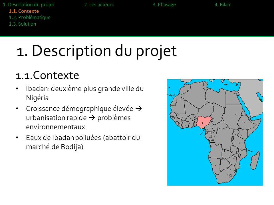 1. Description du projet 1.1.Contexte Ibadan: deuxième plus grande ville du Nigéria Croissance démographique élevée urbanisation rapide problèmes envi