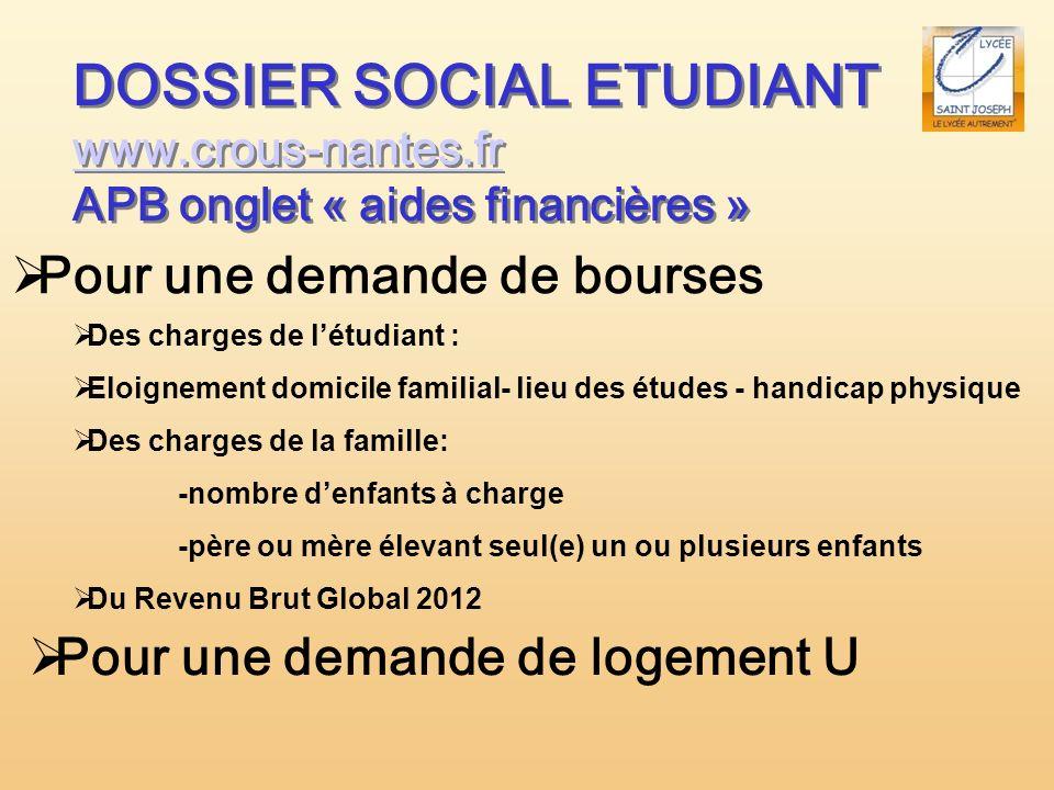 DOSSIER SOCIAL ETUDIANT www.crous-nantes.fr www.crous-nantes.fr APB onglet « aides financières » DOSSIER SOCIAL ETUDIANT www.crous-nantes.fr www.crous