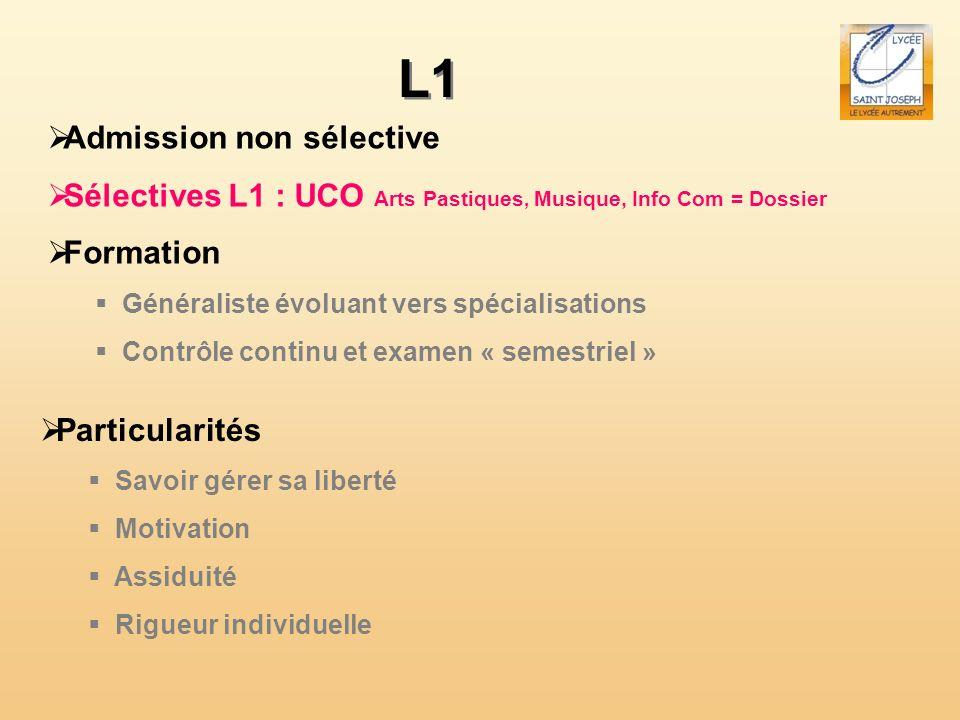 L1 Admission non sélective Sélectives L1 : UCO Arts Pastiques, Musique, Info Com = Dossier Formation Généraliste évoluant vers spécialisations Contrôl