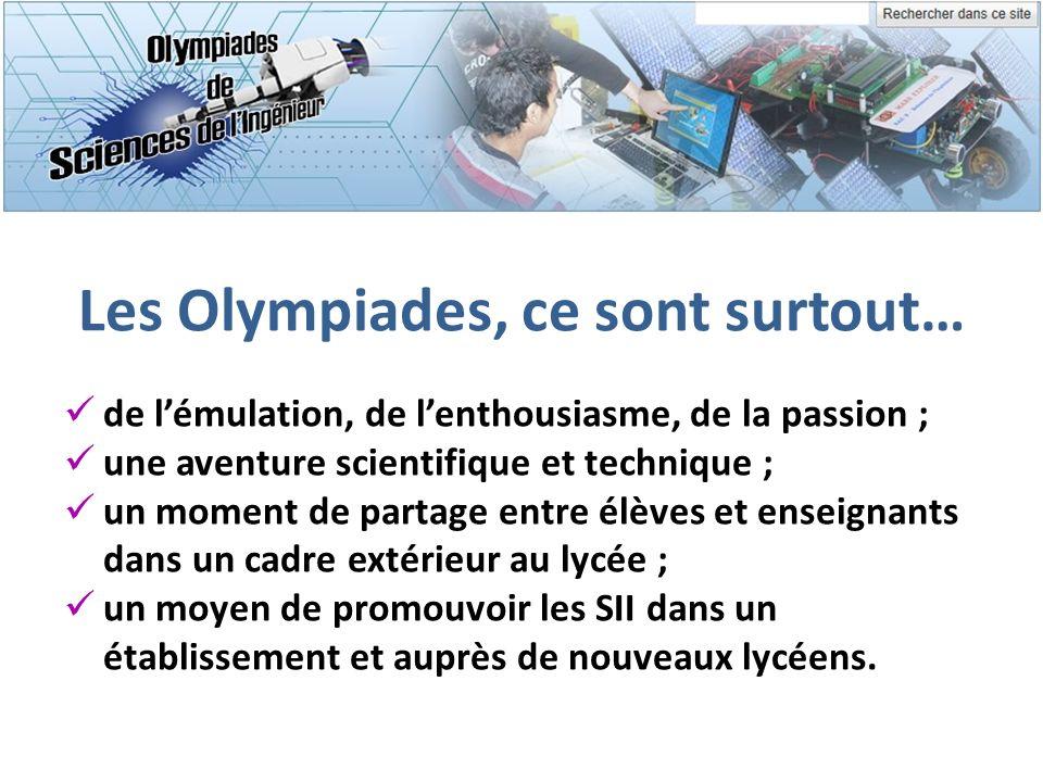 Les Olympiades, ce sont surtout… de lémulation, de lenthousiasme, de la passion ; une aventure scientifique et technique ; un moment de partage entre