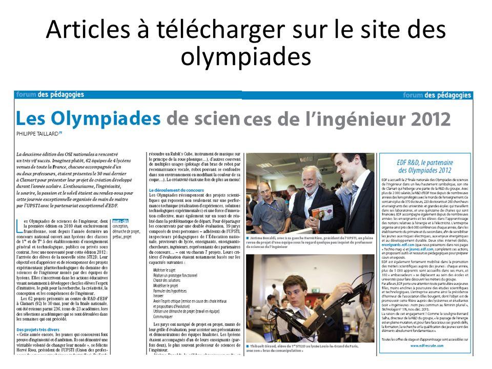 Articles à télécharger sur le site des olympiades