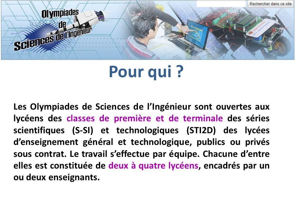 Pour qui ? Les Olympiades de Sciences de lIngénieur sont ouvertes aux lycéens des classes de première et de terminale des séries scientifiques (S-SI)
