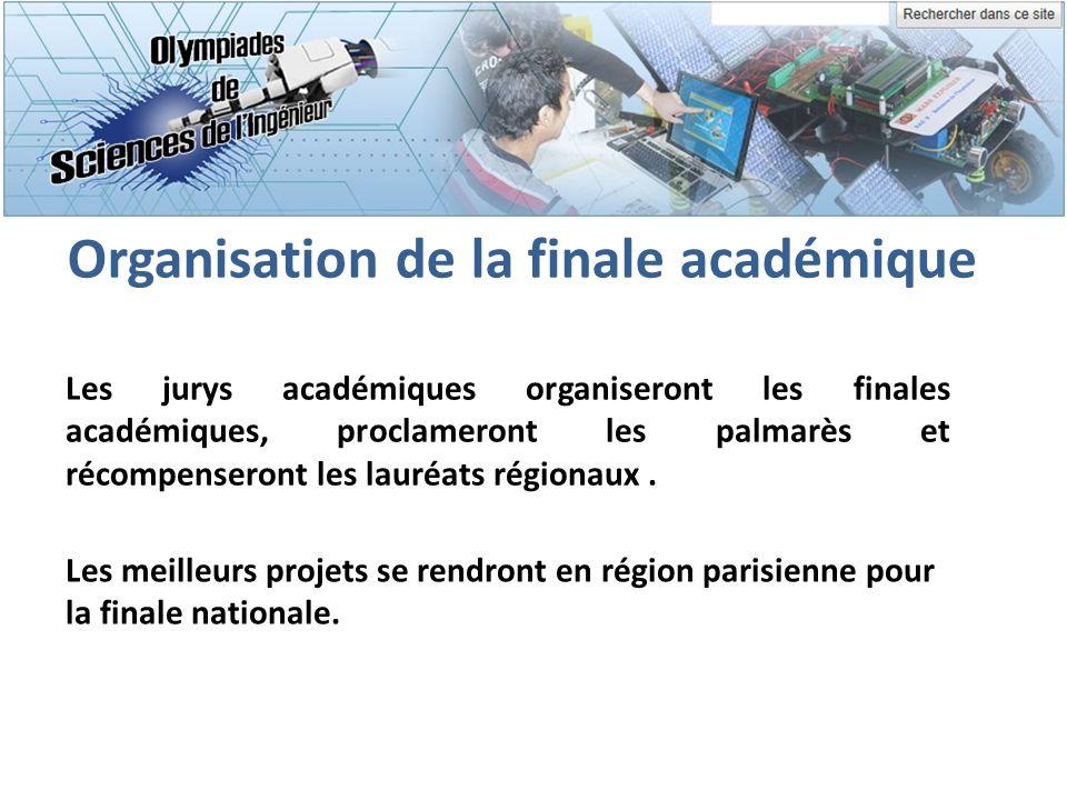 Organisation de la finale académique Les jurys académiques organiseront les finales académiques, proclameront les palmarès et récompenseront les lauré