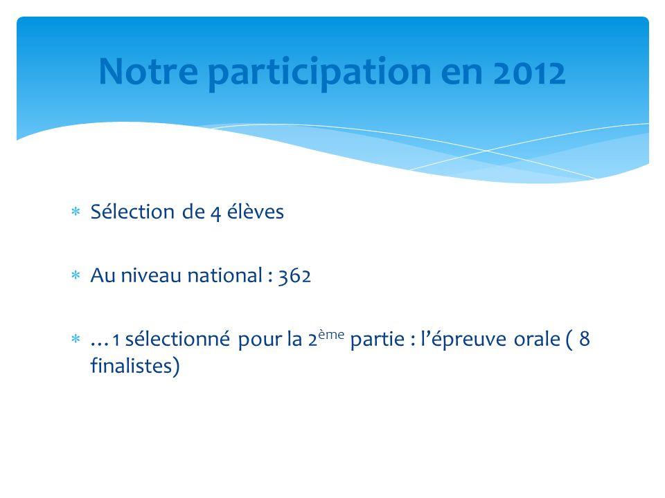 Sélection de 4 élèves Au niveau national : 362 …1 sélectionné pour la 2 ème partie : lépreuve orale ( 8 finalistes) Notre participation en 2012
