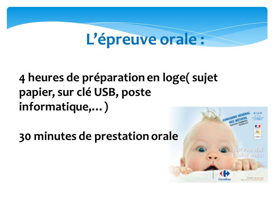 Lépreuve orale : 4 heures de préparation en loge( sujet papier, sur clé USB, poste informatique,…) 30 minutes de prestation orale