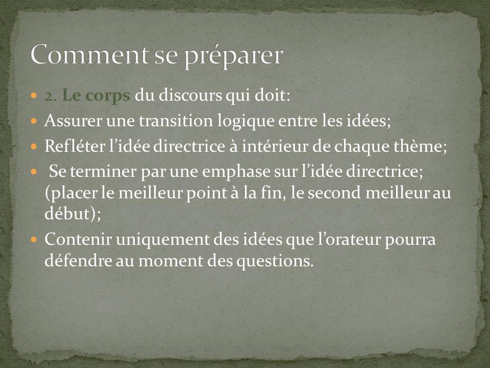 2. Le corps du discours qui doit: Assurer une transition logique entre les idées; Refléter lidée directrice à intérieur de chaque thème; Se terminer p