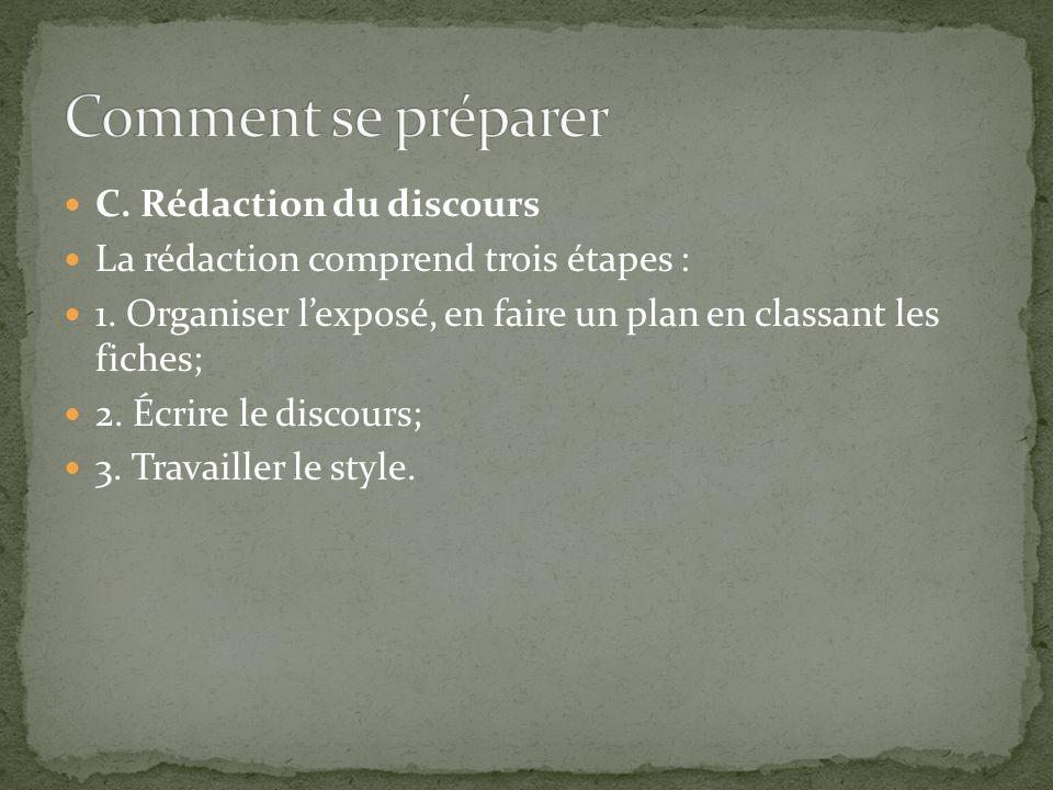 C.Rédaction du discours La rédaction comprend trois étapes : 1.