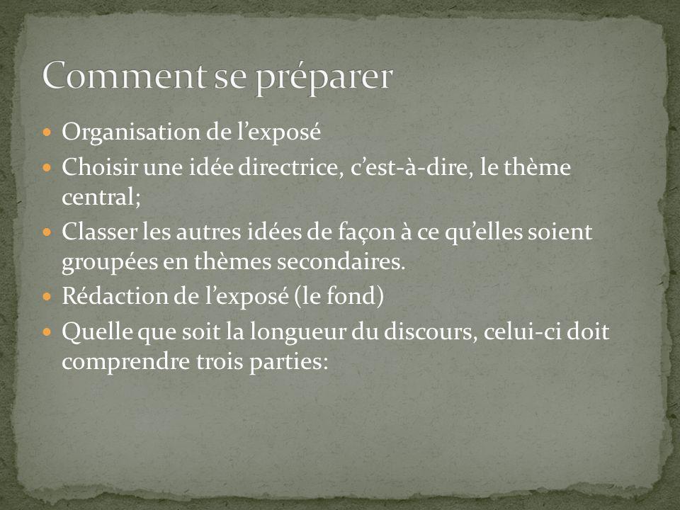 Organisation de lexposé Choisir une idée directrice, cest-à-dire, le thème central; Classer les autres idées de façon à ce quelles soient groupées en thèmes secondaires.