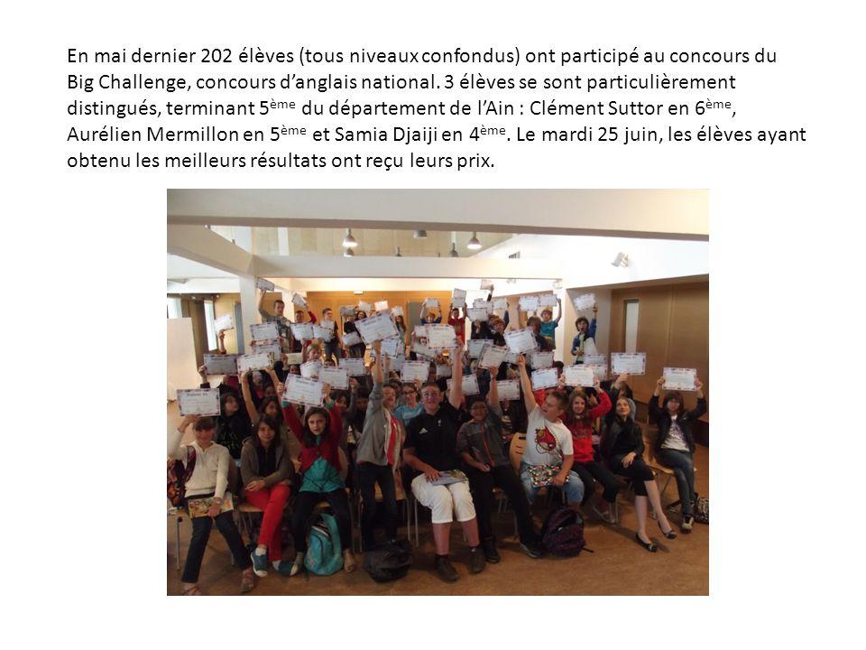 En mai dernier 202 élèves (tous niveaux confondus) ont participé au concours du Big Challenge, concours danglais national. 3 élèves se sont particuliè