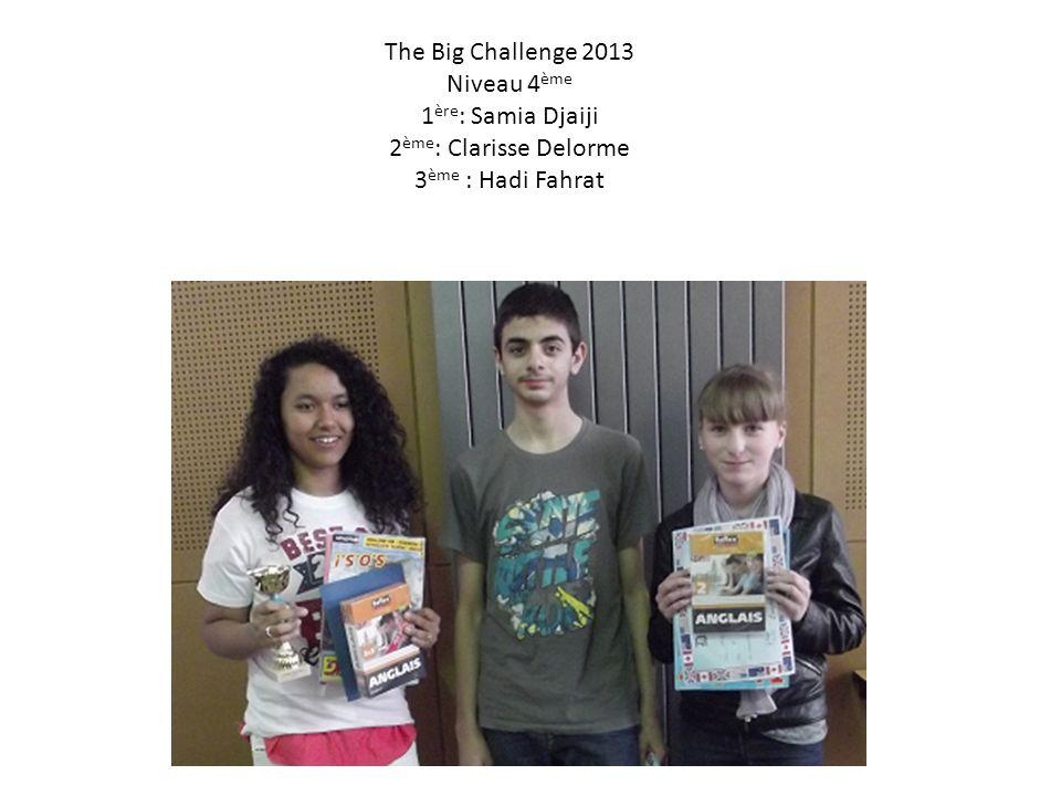 The Big Challenge 2013 Niveau 4 ème 1 ère : Samia Djaiji 2 ème : Clarisse Delorme 3 ème : Hadi Fahrat