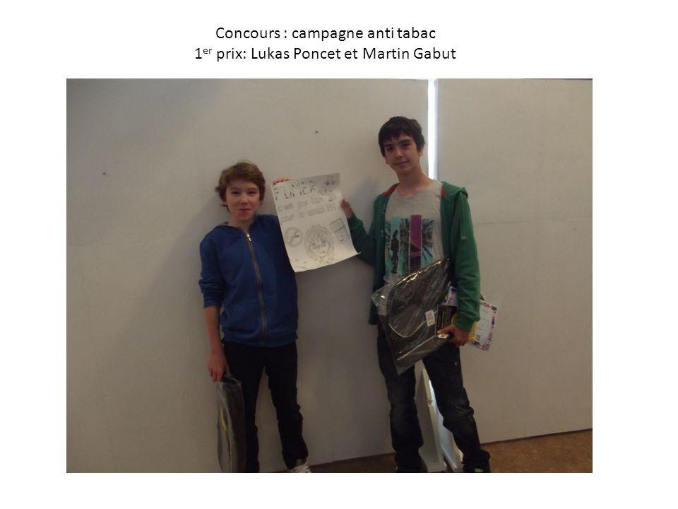 Concours : campagne anti tabac 1 er prix: Lukas Poncet et Martin Gabut