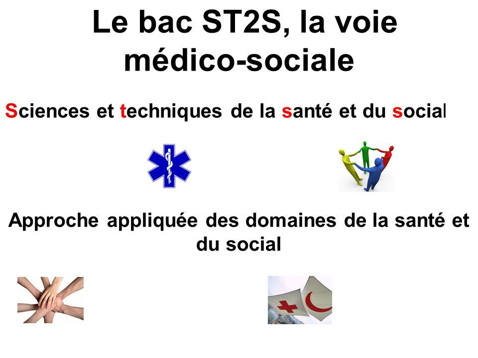 Le bac ST2S, la voie médico-sociale Sciences et techniques de la santé et du social Approche appliquée des domaines de la santé et du social