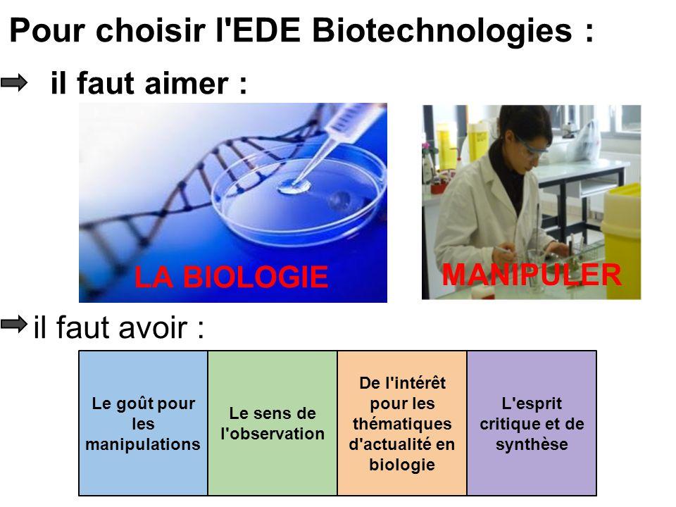 il faut aimer : LA BIOLOGIE MANIPULER il faut avoir : Le goût pour les manipulations Le sens de l observation L esprit critique et de synthèse De l intérêt pour les thématiques d actualité en biologie Pour choisir l EDE Biotechnologies :
