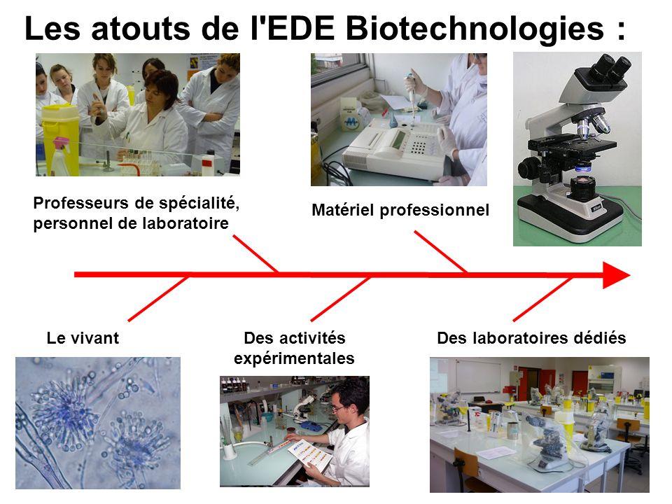 Les atouts de l EDE Biotechnologies : Le vivantDes activités expérimentales Des laboratoires dédiés Professeurs de spécialité, personnel de laboratoire Matériel professionnel