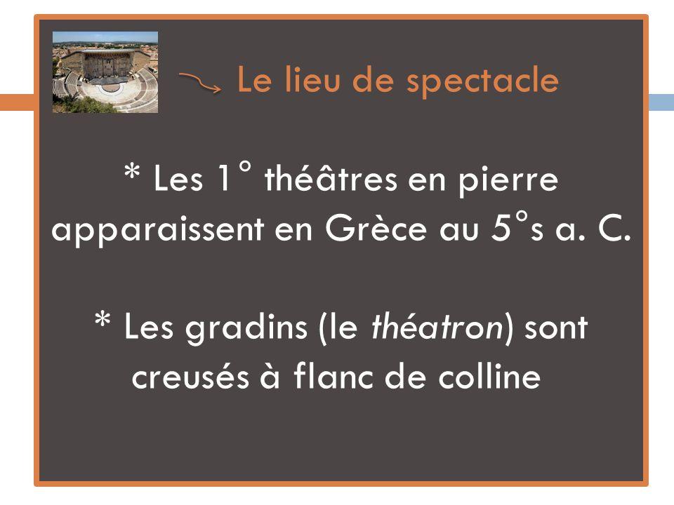 Le lieu de spectacle * Les 1° théâtres en pierre apparaissent en Grèce au 5°s a. C. * Les gradins (le théatron) sont creusés à flanc de colline