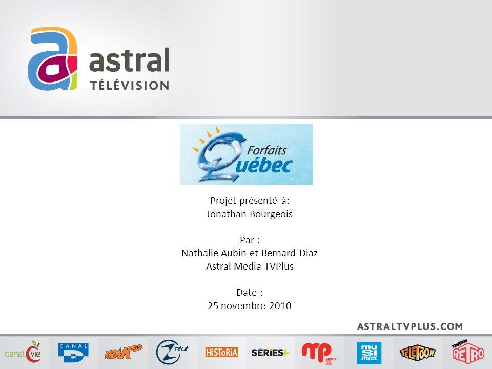 Projet présenté à: Jonathan Bourgeois Par : Nathalie Aubin et Bernard Diaz Astral Media TVPlus Date : 25 novembre 2010