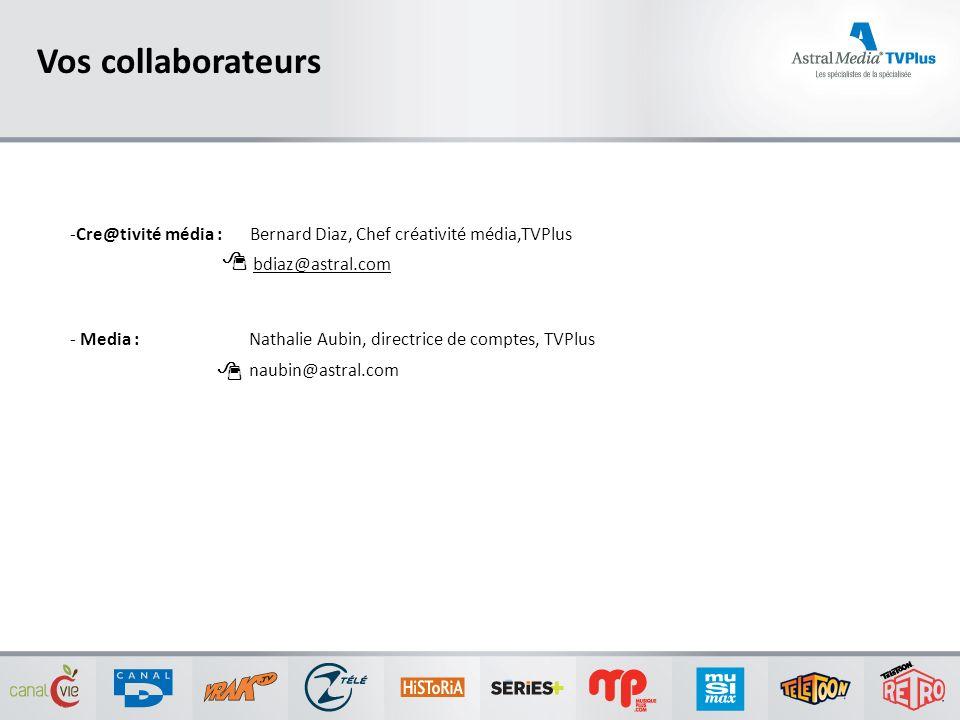 Vos collaborateurs -Cre@tivité média : Bernard Diaz, Chef créativité média,TVPlus bdiaz@astral.com - Media : Nathalie Aubin, directrice de comptes, TV