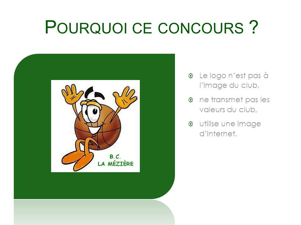 P OURQUOI CE CONCOURS ? Le logo nest pas à limage du club, ne transmet pas les valeurs du club, utilise une image dinternet.