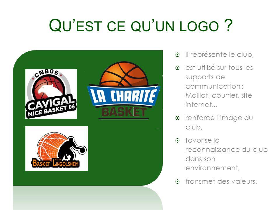Q U EST CE QU UN LOGO ? Il représente le club, est utilisé sur tous les supports de communication : Maillot, courrier, site internet... renforce limag