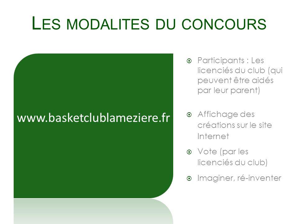 L ES MODALITES DU CONCOURS Participants : Les licenciés du club (qui peuvent être aidés par leur parent) Affichage des créations sur le site Internet