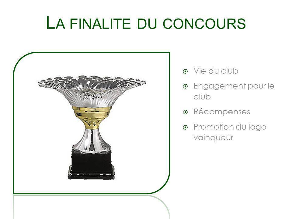 L A FINALITE DU CONCOURS Vie du club Engagement pour le club Récompenses Promotion du logo vainqueur