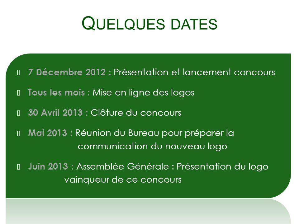 Q UELQUES DATES 7 Décembre 2012 : Présentation et lancement concours Tous les mois : Mise en ligne des logos 30 Avril 2013 : Clôture du concours Mai 2