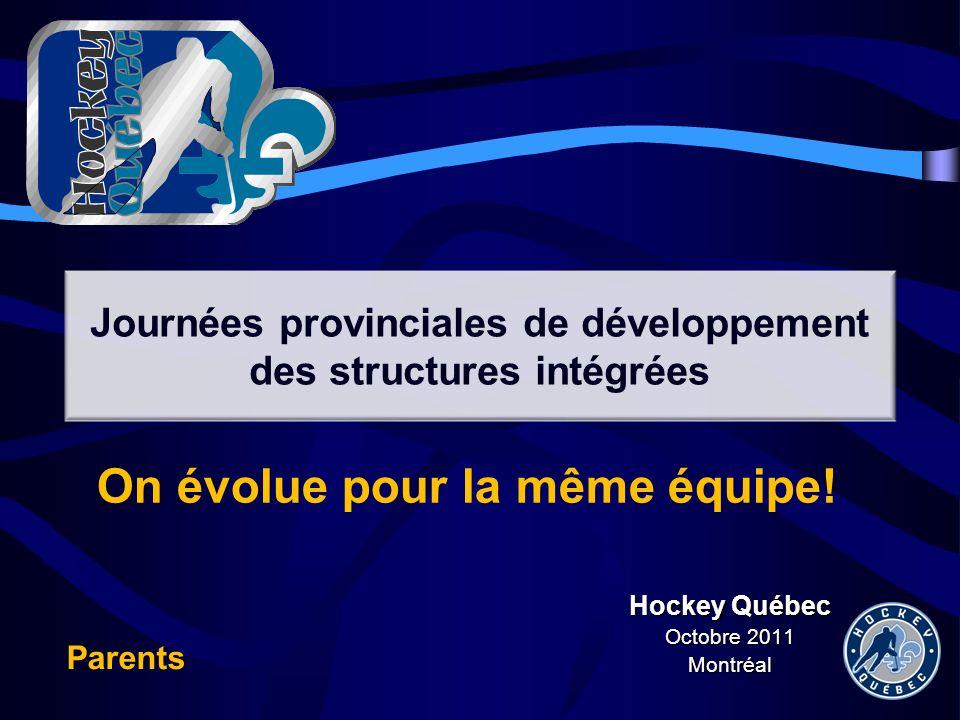 Hockey Québec Octobre 2011 Montréal Journées provinciales de développement des structures intégrées On évolue pour la même équipe! Parents