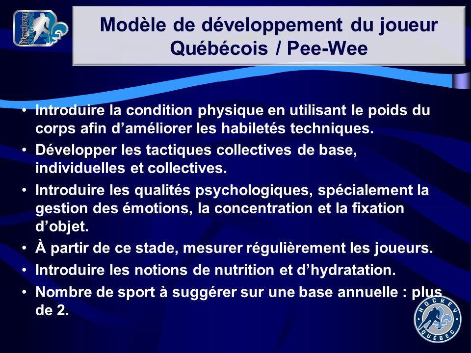 Modèle de développement du joueur Québécois / Pee-Wee Introduire la condition physique en utilisant le poids du corps afin daméliorer les habiletés te
