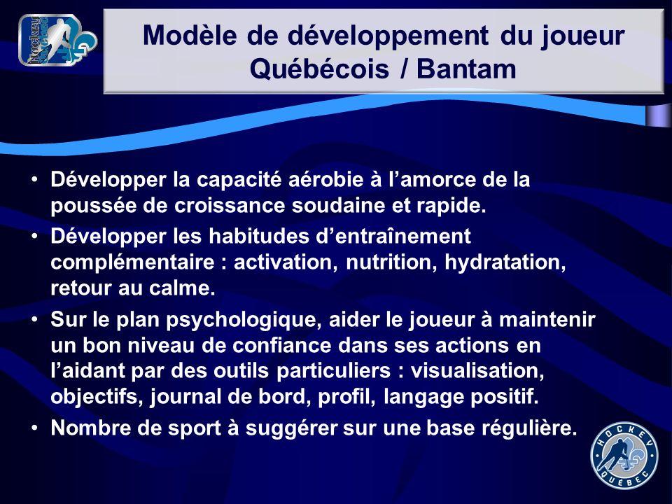 Modèle de développement du joueur Québécois / Bantam Développer la capacité aérobie à lamorce de la poussée de croissance soudaine et rapide. Développ
