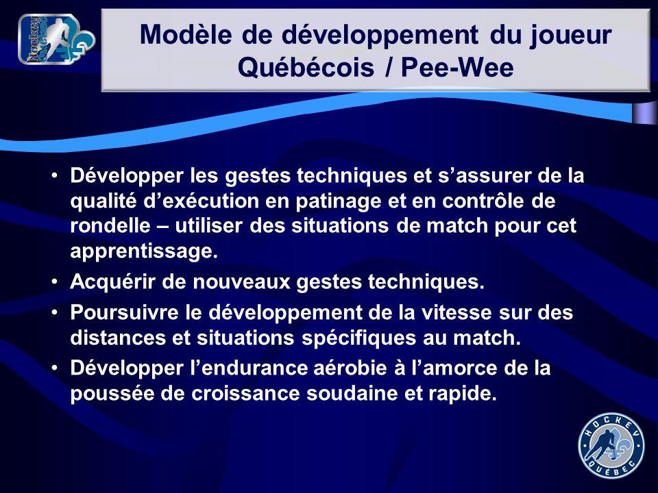 Modèle de développement du joueur Québécois / Pee-Wee Développer les gestes techniques et sassurer de la qualité dexécution en patinage et en contrôle