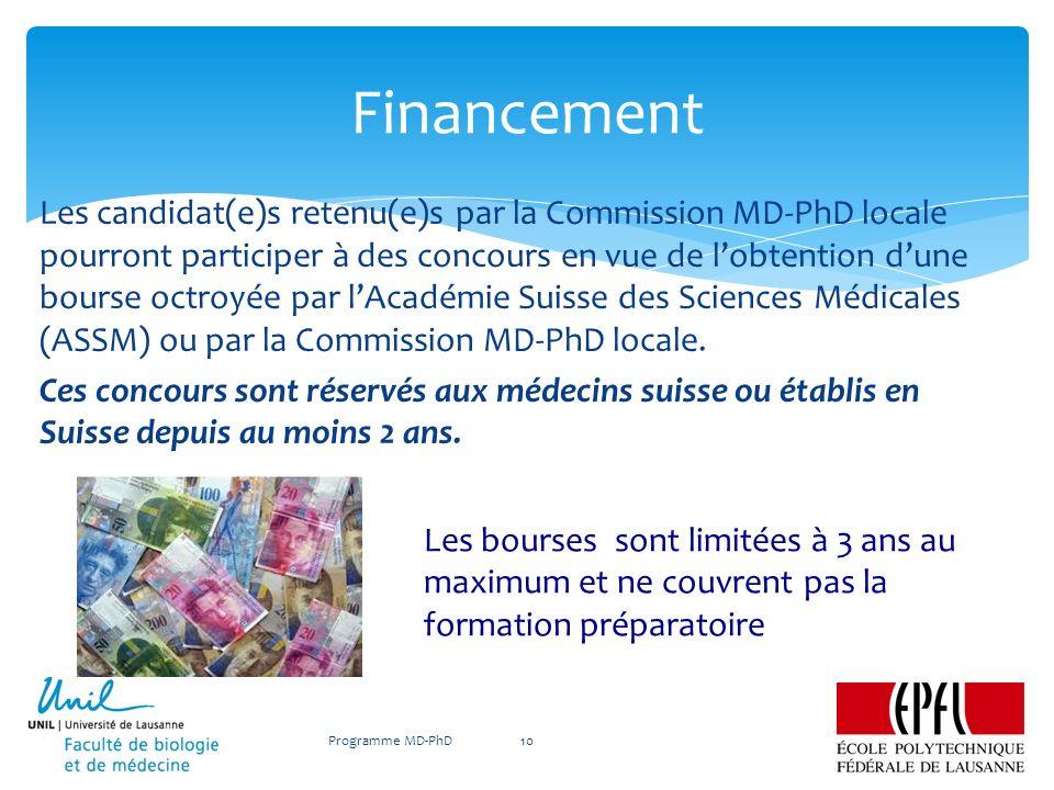 Les candidat(e)s retenu(e)s par la Commission MD-PhD locale pourront participer à des concours en vue de lobtention dune bourse octroyée par lAcadémie