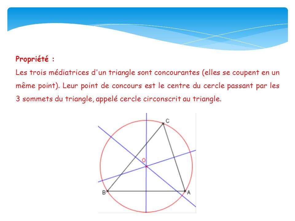 Propriété : Les trois médiatrices d un triangle sont concourantes (elles se coupent en un même point).