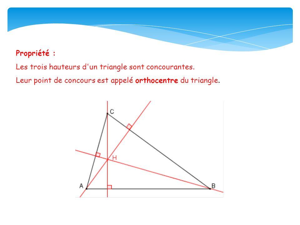 Propriété : Les trois hauteurs d un triangle sont concourantes.