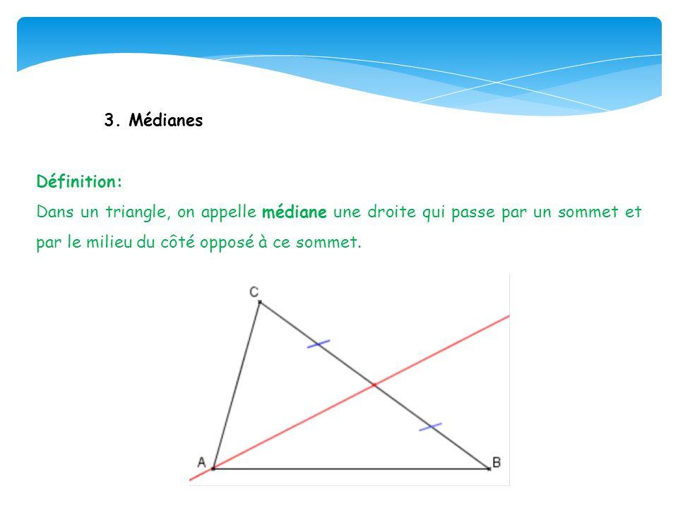 3. Médianes Définition: Dans un triangle, on appelle médiane une droite qui passe par un sommet et par le milieu du côté opposé à ce sommet.