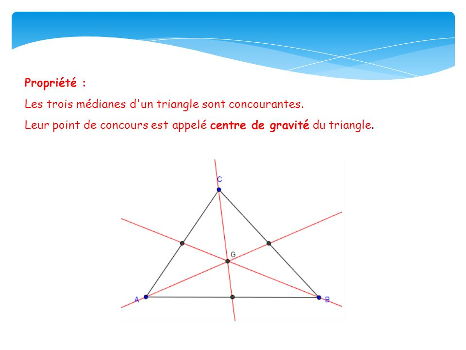 Propriété : Les trois médianes d un triangle sont concourantes.