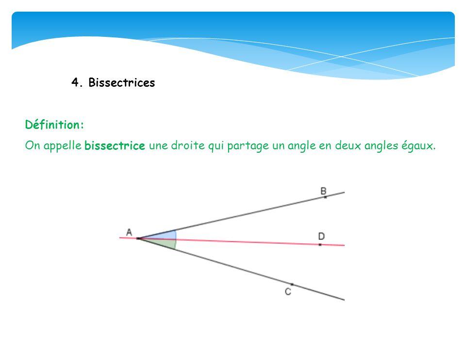 4. Bissectrices Définition: On appelle bissectrice une droite qui partage un angle en deux angles égaux.
