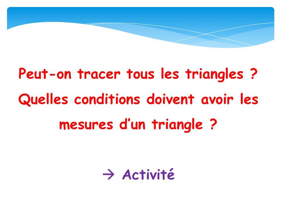 Peut-on tracer tous les triangles .Quelles conditions doivent avoir les mesures dun triangle .