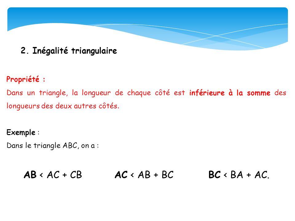 2. Inégalité triangulaire Propriété : Dans un triangle, la longueur de chaque côté est inférieure à la somme des longueurs des deux autres côtés. Exem