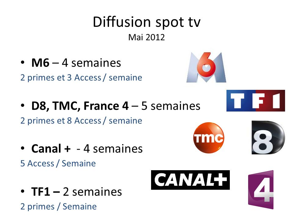 Diffusion spot tv Mai 2012 M6 – 4 semaines 2 primes et 3 Access / semaine D8, TMC, France 4 – 5 semaines 2 primes et 8 Access / semaine Canal + - 4 se