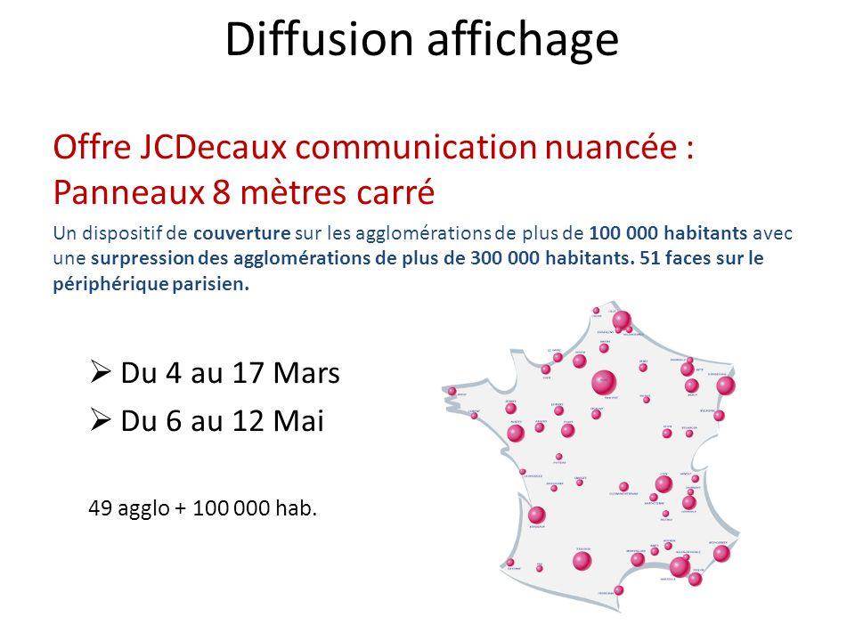 Diffusion affichage Offre JCDecaux communication nuancée : Panneaux 8 mètres carré Un dispositif de couverture sur les agglomérations de plus de 100 0
