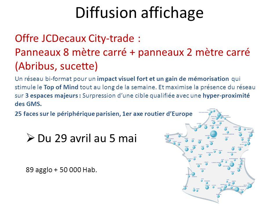 Diffusion affichage Offre JCDecaux City-trade : Panneaux 8 mètre carré + panneaux 2 mètre carré (Abribus, sucette) Un réseau bi-format pour un impact