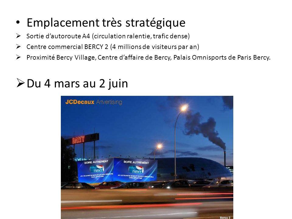 Emplacement très stratégique Sortie dautoroute A4 (circulation ralentie, trafic dense) Centre commercial BERCY 2 (4 millions de visiteurs par an) Prox