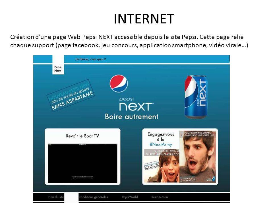 Création dune page Web Pepsi NEXT accessible depuis le site Pepsi. Cette page relie chaque support (page facebook, jeu concours, application smartphon