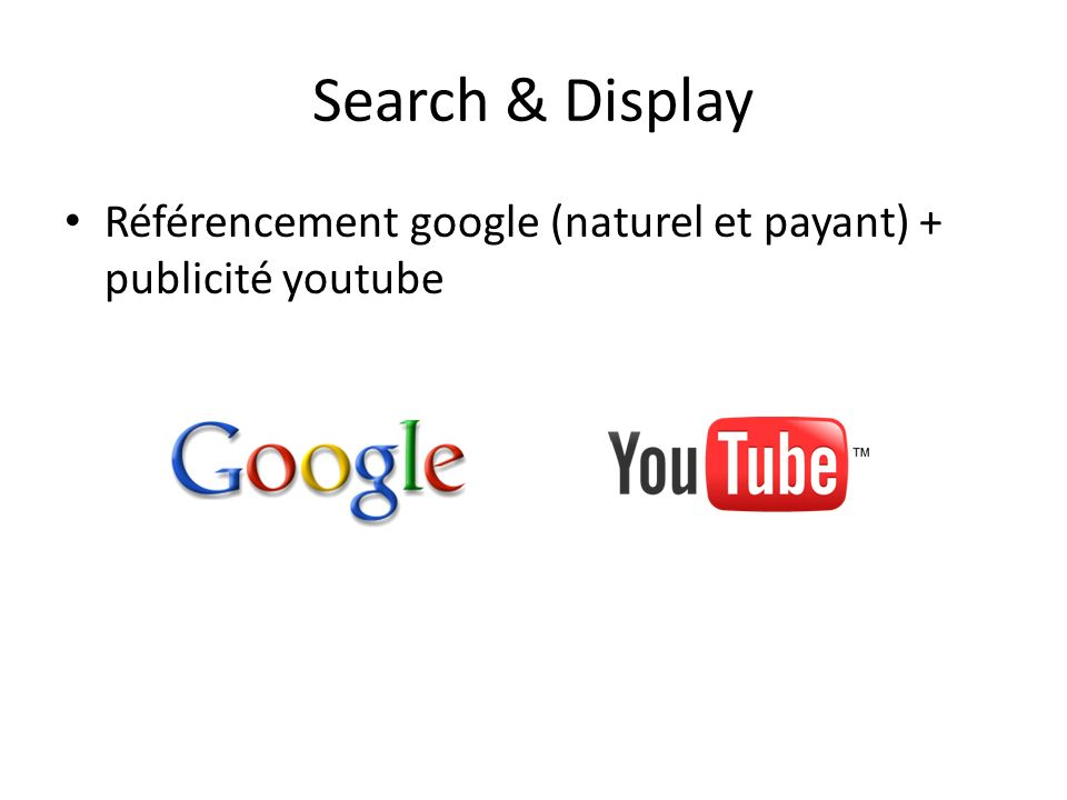Search & Display Référencement google (naturel et payant) + publicité youtube