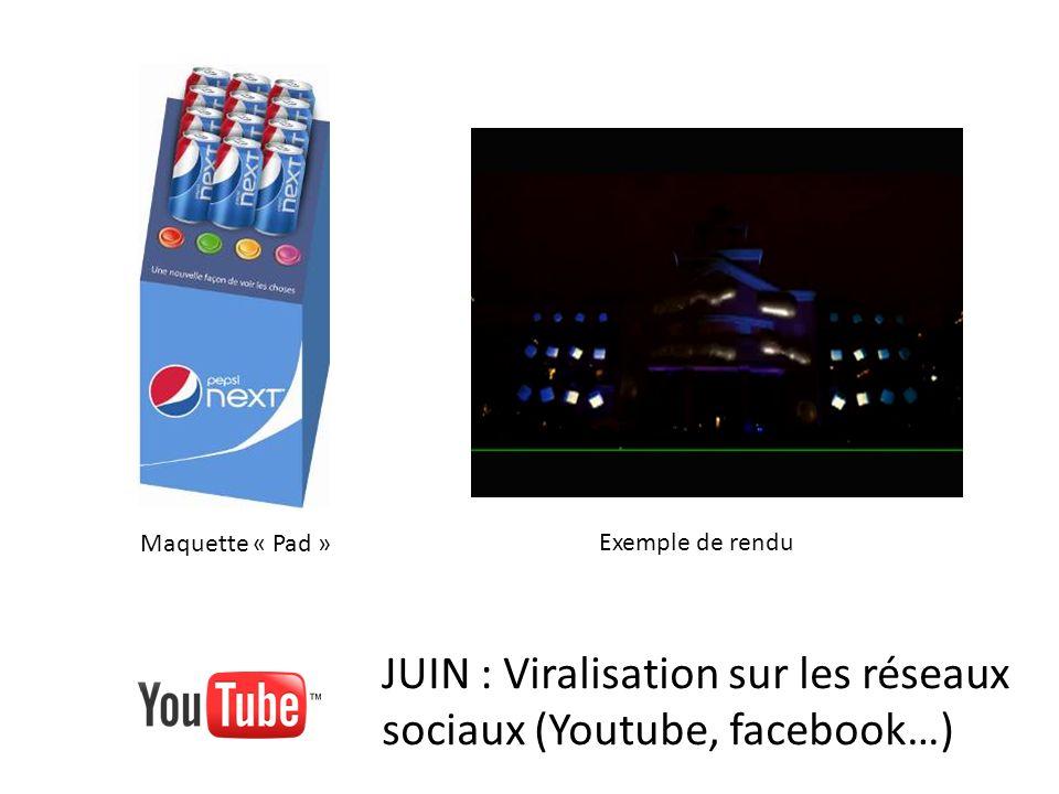 JUIN : Viralisation sur les réseaux sociaux (Youtube, facebook…) Maquette « Pad » Exemple de rendu