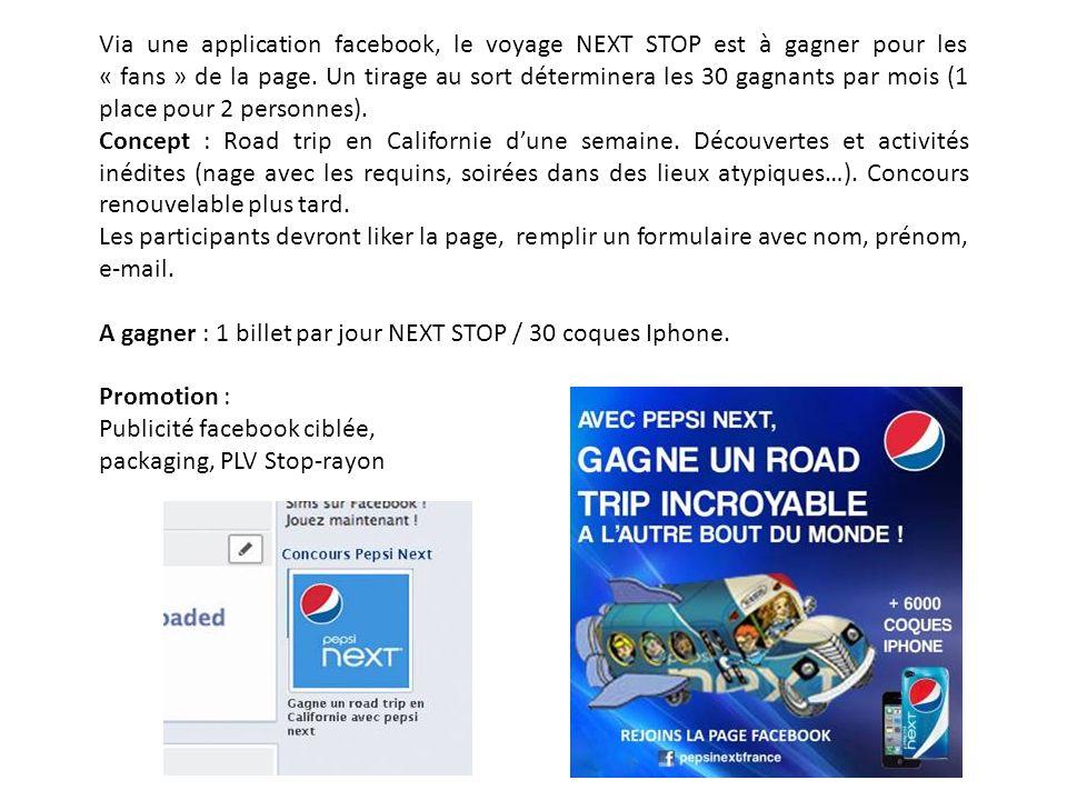 Via une application facebook, le voyage NEXT STOP est à gagner pour les « fans » de la page. Un tirage au sort déterminera les 30 gagnants par mois (1