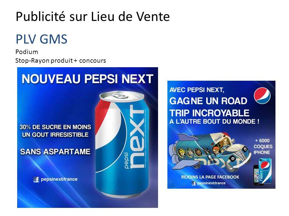 Publicité sur Lieu de Vente PLV GMS Podium Stop-Rayon produit + concours